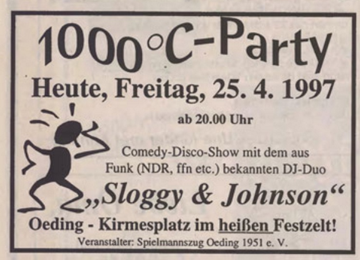 1000°C-Party mit Sloggy & Johnson | 25.04.1997